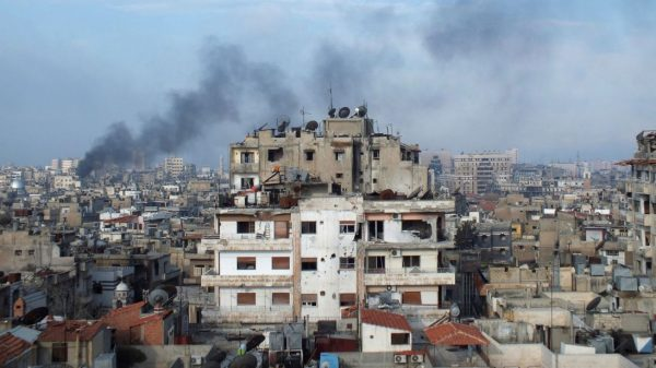 The city of Homs in Syria, which is near the airbase. File pic