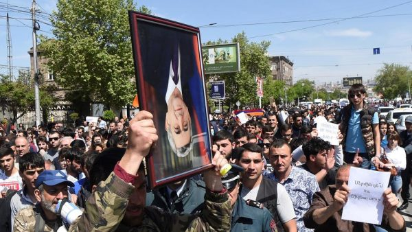 Demonstrators attend a protest after parliament voted to allow former president Serzh Sarksyan to become prime minister, in Yerevan, Armenia April 19, 2018. (Reuters)
