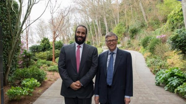 Saudi Arabia's Crown Prince Mohammed bin Salman is shown with Bill and Melinda Gates Foundation co-founder Bill Gates at his home in Seattle