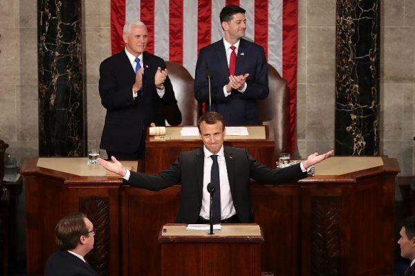 French President Emmanuel Macron is welcomed with a standing ovation during a joint meeting of the U.S. Congress in the House Chamber with U.S. Vice President Mike Pence and Speaker of the House Paul Ryan (R-WI) at the U.S. Capitol April 25, 2018 in Washington, DC.