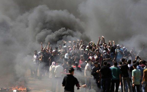 Palestinian demonstrators   near the Gaza-Israel border,