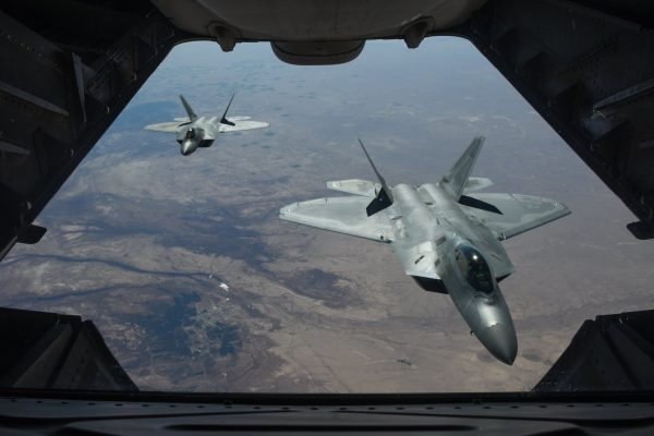United States F-22 stealth fighter jets above Syria, where the prospect of Russian military forces and American troops colliding has long been feared as the Cold War adversaries take opposing sides in the country's seven-year civil war.CreditStaff Sgt. Colton Elliot/U.S. Air Force