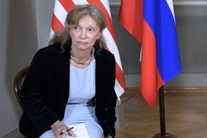 Marina Gross, an interpreter for the State Department, during a meeting on Monday between President Trump and President Vladimir V. Putin of Russia in Helsinki, Finland.CreditPool photo by Alexey Nikolsky