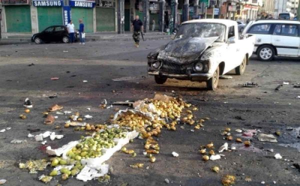 DAMASCUS, July 25, 2018 (Xinhua) -- Fruits are seen scattered on the ground after a suicide bombing in Sweida, in southern Syria, on July 25, 2018. At least 38 people were killed and 37 others wounded in a series of bombings and attacks that rocked government-held areas in Syrian southern province of Sweida on Wednesday, state media and opposition activists reported.(Xinhua Photo/IANS)
