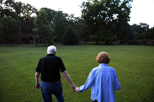 PLAINS, GA - AUGUST 04: Former President of the United States, Jimmy Carter walks with his wife, former First Lady, Rosalynn Carter towards their home following dinner at a friend's home on Saturday August 04, 2018 in Plains, GA. Born in Plains, GA,   (Photo by Matt McClain/The Washington Post via Getty Images)