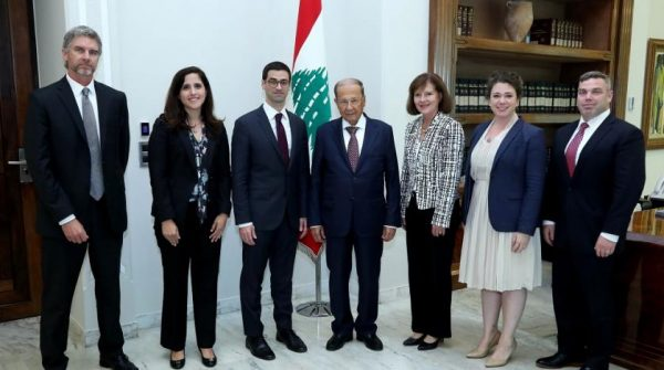 US Assistant Secretary of Defense for International Security Robert Story Karem and a US delegation visit Lebanese President Michel Aoun at the Presidential Palace on Thursday. (NNA)