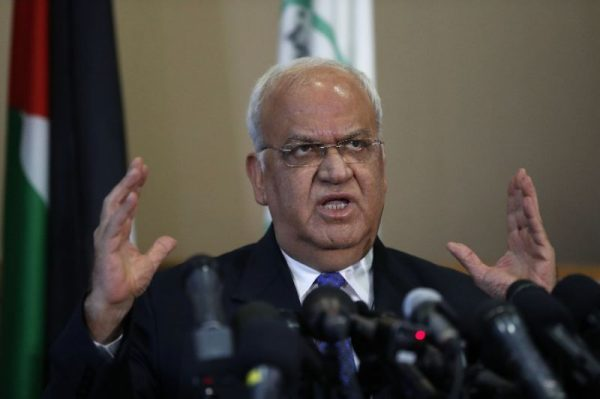 Palestine Liberation Organization Secretary General Saeb Erekat addresses a press conference in the West Bank city of Ramallah on September 11, 2018 (AFP Photo/AHMAD GHARABLI)