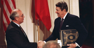 The Intermediate-Range Nuclear Forces Treaty (INF Treaty, formally Treaty Between the United States of America and the Union of Soviet Socialist Republics on the Elimination of Their Intermediate-Range and Shorter-Range Missiles) is a 1987 arms control agreement between the United States and the Soviet Union (and later its successor states, in particular the Russian Federation). Signed in Washington, D.C. by President Ronald Reagan and General Secretary Mikhail Gorbachev on 8 December 1987