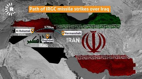 path of IRGC missiles