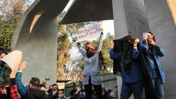 Iranian students protest at the University of Tehran during a demonstration driven by anger over economic problems, in the capital Tehran on December. AFP