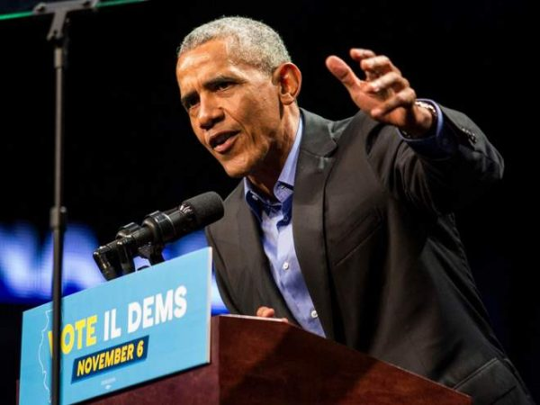 Former President Barack Obama speaks during a Get Out The Vote rally to campaign for Illinois gubernatorial candidate J.B. Pritzker in Chicago (AP)