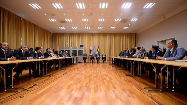 Swedish and U.N. officials, as well as delegates of Yemen's government and the Houthi rebels, attend the opening press conference of the Yemeni peace talks at Johannesberg castle in Rimbo, Sweden, onThursday