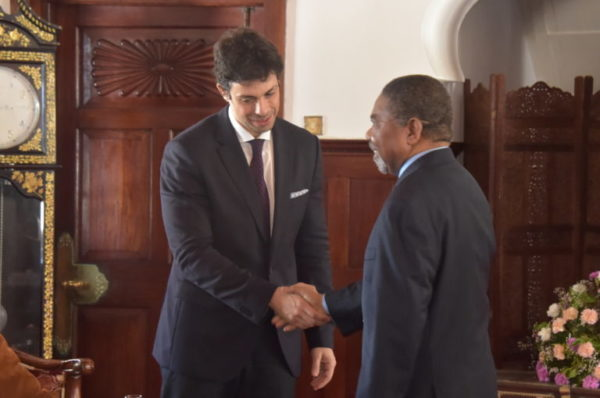 FILE PHOTO: Jean Boustany (L)   is shown with the President of Zanzibar and Chairman of Revolutionary Council Dr.Ali Mohamed Shein at his palace in Zanzibar