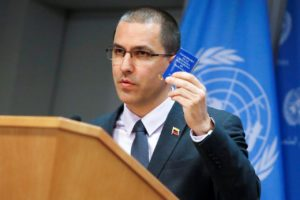 FILE PHOTO: Venezuelan Minister of Foreign Affairs Jorge Arreaza displays a copy of the Constitution of Venezuela as he delivers remarks in the press briefing room at the United Nations Headquarters in New York, U.S. February 12, 2019. REUTERS/Andrew Kelly