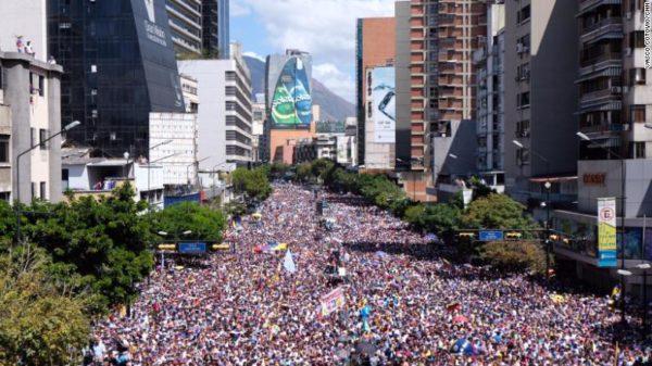 Opposition protesters assemble along Francisco de Miranda Avenue in central Caracas on Tuesday.