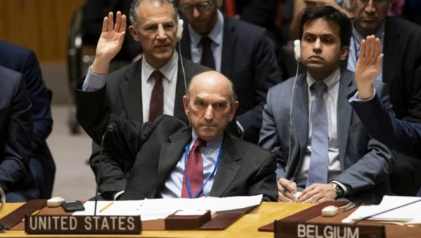 The US envoy on Venezuela Elliott Abrams votes on a US-backed resolution on Venezuela at the United Nations Security Council in New York on February 28, 2019.AFP