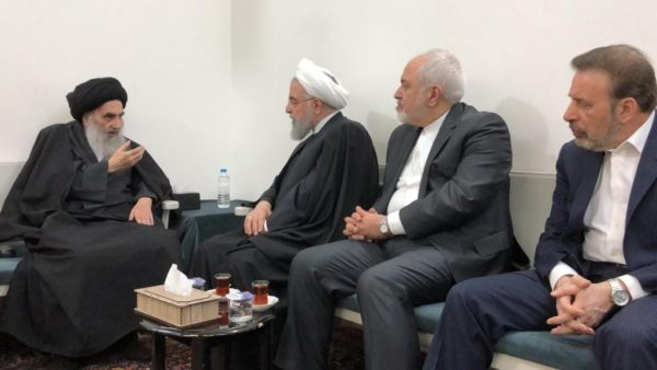 Grand Ayatollah Ali al-Sistani (L) meets with Iranian President Hassan Rouhani in Najaf, Iraq March 13, 2019. (Photo Credit: Sistani.org)