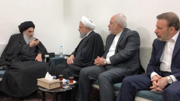 Grand Ayatollah Ali al-Sistani (L) meets with Iranian President Hassan Rouhani in Najaf, Iraq March 13, 2019. (Photo Credit: Sistani.org)