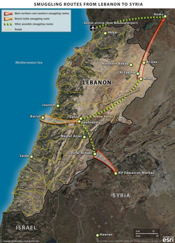 Syria lebanon smuggling Routes
