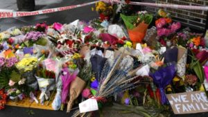 A makeshift memorial near the Linwood Mosque in Christchurch. Picture: AAP/Mick TsikasSource:AAP