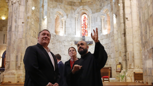 U.S. Secretary of State Mike Pompeo and his wife Susan visit a church at Byblos, Lebanon, Saturday, March 23, 2019. (Jim Young/Pool Photo via AP) (Associated Press)