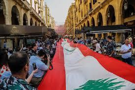 300 meters long Lebanese flag in Beirut