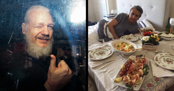 Was Julian Assange expelled from the embassy over a leaked picture of a lobster? An embarrassing photo of Ecuadorian President Lenin Moreno lying in bed enjoying a plate of lobster emerged online