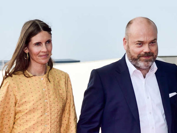 Anders Holch Povlsen and his wife Anne Holch Povlsen (L) at the celebration of the 50th birthday of Crown Prince Frederik of Denmark in Royal Arena in Copenhagen, Denmark.