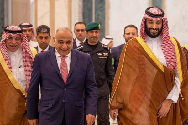 Iraqi Prime Minister Adel Abdul Mahdi and Saudi Crown Prince Mohammed bin Salman (April 18, 2019). Iraqi officials are doing their best to reduce tensions between Tehran and Riyadh.