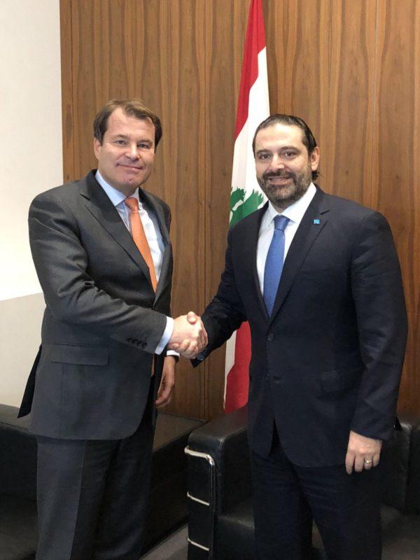 EBRD first vice president Jurgen Rigterink and PM Hariri