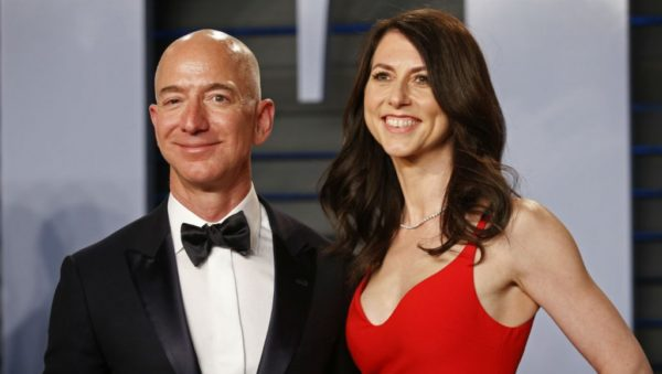 Amazon CEO Jeff Bezos and his wife MacKenzie pictured at the 2018 Vanity Fair Oscar Party in Beverly Hills, California.
