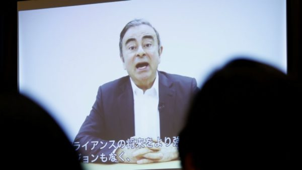 Issei Kato, REUTERS | A video statement made by the former Nissan Motor chairman Carlos Ghosn is shown during a news conference at the Foreign Correspondents' Club of Japan in Tokyo, Japan April 9, 2019.
