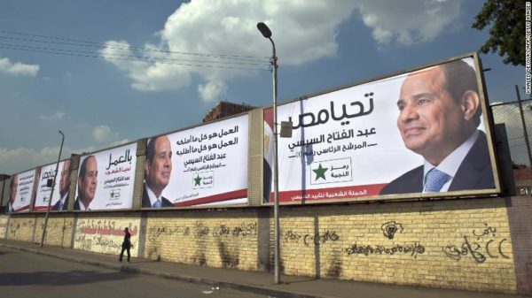 Posters of then-candidate Abdel Fattah el-Sisi in Cairo in May 2014.