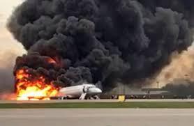 Russian Sukhoi plane catches fire