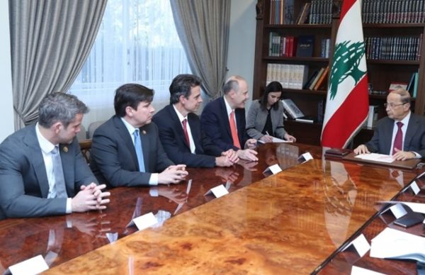 President Michel Aoun (R) is shown with visiting US congressional delegation which included Reps. Adam Kinzinger, an Illinois Republican, and Vicente Gonzalez, a Texas Democrat, both serve on the House Foreign Affairs Committee. Rep. Tom Graves, a Georgia Republican, serves on the House Appropriations Committee. They visited Lebanon to assess the impact of U.S. aid.