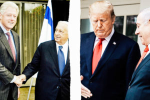 Bill Clinton with former Israeli Prime Minister Ariel Sharon in 2000; Donald Trump with Israeli Prime Minister Benjamin Netanyahu on March 25. Photo illustration by Slate. Photos by Thomas Coex/AFP/Getty Images; Drew Angerer/Getty Images.
