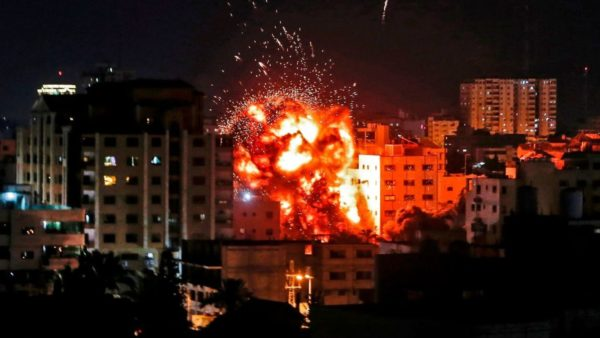 An explosion in Rafah in the southern Gaza Strip following an Israeli airstrike. A pregnant mother and her baby niece have been killed in a fresh round of violence between Israel and militants in Gaza. Sky news reported