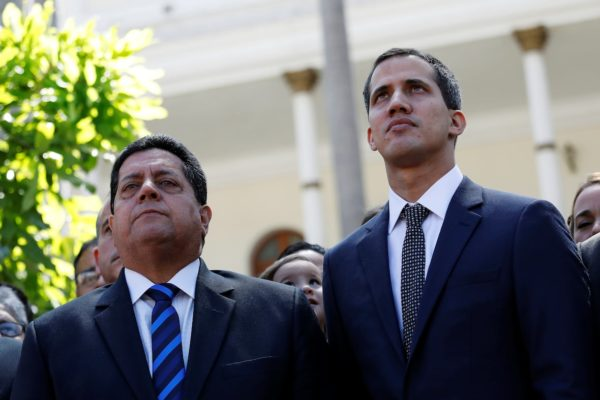 Venezuelan self decalred President   Juan Guaido and his deputy Edgar Zambrano, vice president of the opposition-controlled National Assembly