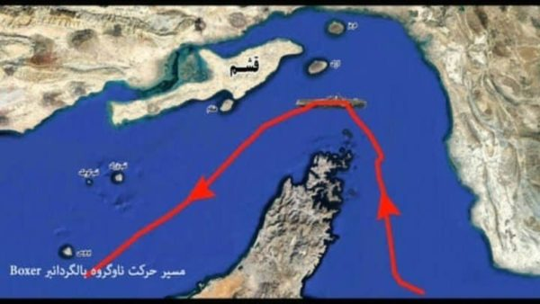 An image grab taken from a broadcast by Iran's Islamic Revolutionary Guard Corps (IRGC) on July 19, 2019 reportedly shows footage from an IRGC drone, showing a map of the route taken by the US amphibious assault ship USS Boxer; the US is about to send troops into Saudi Arabia An image grab taken from a broadcast by Iran's Islamic Revolutionary Guard Corps (IRGC) on July 19, 2019 reportedly shows footage from an IRGC drone, showing a map of the route taken by the US amphibious assault ship USS Boxer; the US is about to send troops into Saudi Arabia Iran's Islamic Revolutionary Guard Corps (IRGC)/AFP