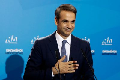 Greek opposition New Democracy conservative party leader Kyriakos Mitsotakis delivers his speech after win the parliamentary elections at the New Democracy ...