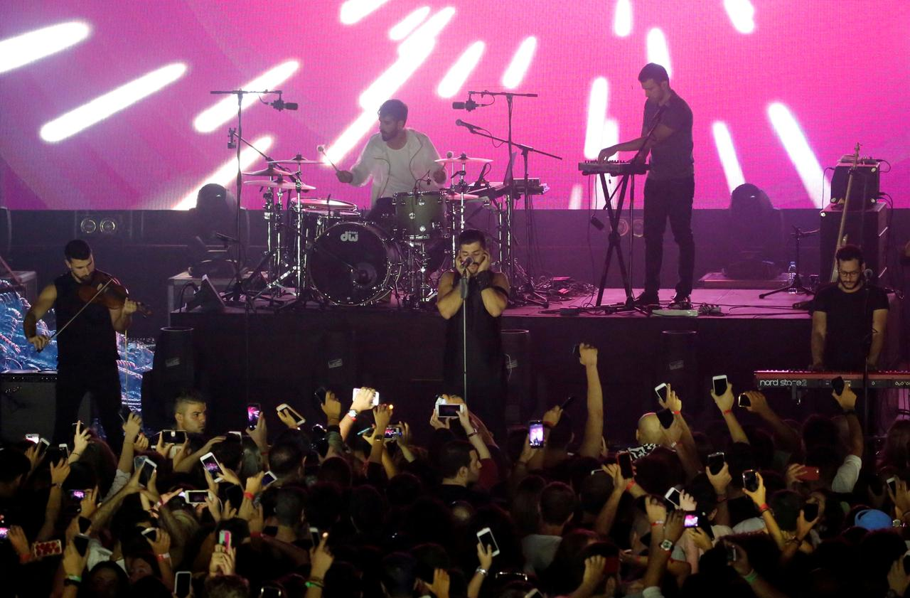 FILE PHOTO: Lebanese alternative rock band Mashrou' Leila performs during the Ehdeniyat International Festival in Ehden, Lebanon, August 12, 2017. REUTERS/Jamal Saidi