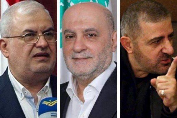Hezbollah parliament bloc chief MP Mohammad Raad (L ) ,Hezbollah  MP Amine Cherri (C) and Hezbollah security chief Wafic Safa
