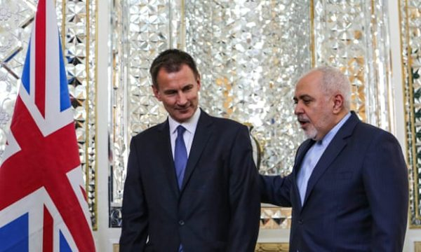 The Iranian foreign minister, Javad Zarif (right), with his British counterpart, Jeremy Hunt, in Tehran. Photograph: Atta Kenare/AFP/Getty