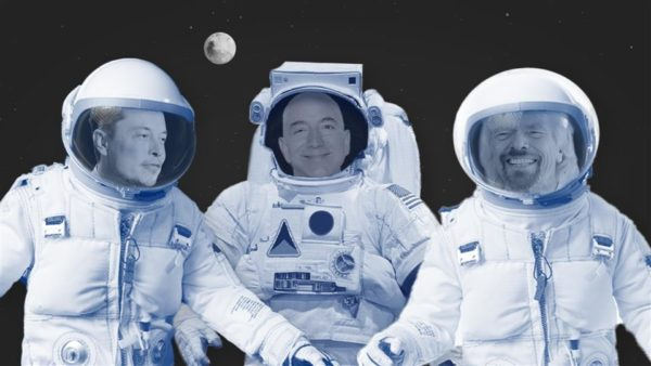 Billionaire CEOs Elon Musk, L Jeff Bezos C and Richard Branson are on a mission to send tourists to the stars. Here's how each company is approaching the new space race. Photo composite: Heather Seidel/The Wall Street Journal