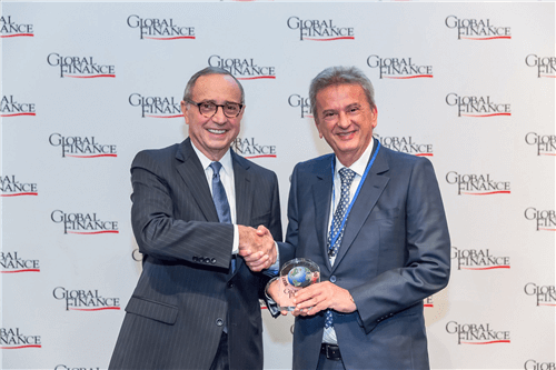 File Photo : Global Finance Magazine honored Banque Du Liban Governor Riad Salameh by presenting him with an honorary shield in Washington D.C. in October 2017