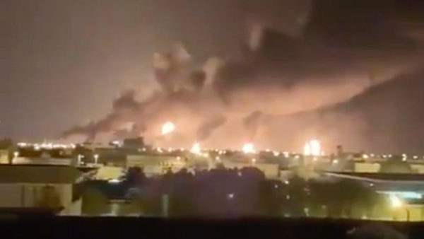 The aftermath an attack on Saudi Arabia's Abqaiq oil processing facility on Sept. 14, 2019