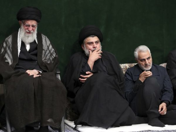 The office of supreme leader Ayatollah Ali Khamenei issued pictures of the Powerful Iraqi cleric Moqtada Sadr and the commander of the elite Quds Force of Iran's Islamic Revolutionary Guard Corps, Major General Qasem Soleimani