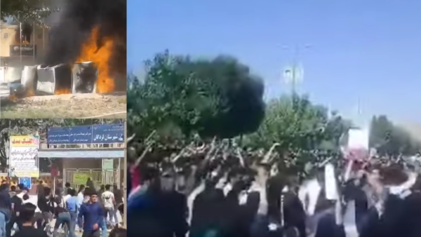 Protesters in the southwestern Iranian town of Lordegan on Oct. 5 set fire to the office of the town's Friday prayer imam. They were angry about rumours of an accidental HIV infection in the nearby village of Chenar Mahmoudi.