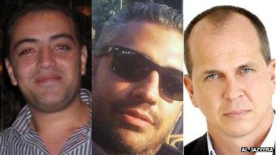 Al-Jazeera English journalists (left to right) Baher Mohamed, Mohamed Mohamed Fahmy and Peter Greste