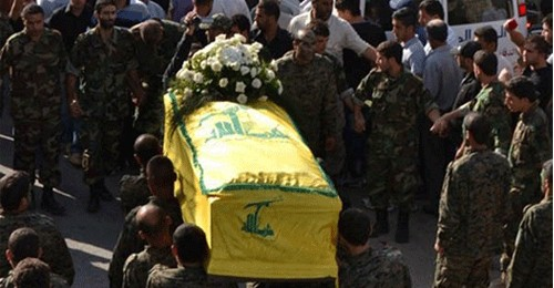 A funeral of a Hezbollah fighter killed i the Syrian war